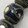 Handmade Indonesia Beads, Round 28mm Hole:3.5mm, Sold by PC