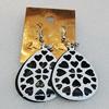 Iron Earrings, Teardrop 43x30mm, Sold by Group