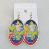 Iron Earrings, Flat Oval 53x30mm, Sold by Group