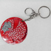 Iron Key Chains with mirror, Length Approx:4.3-inch, Sold by Dozen