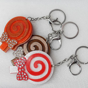 Iron Key Chains with mirror, Mix Colour, Length Approx:4.3-inch, Sold by Dozen