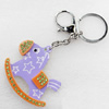 Iron Key Chains with Acrylic Charm, Charm width:57mm, Length Approx:4.7-inch, Sold by Dozen