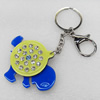 Iron Key Chains with Acrylic Charm, Charm width:70mm, Length Approx:4.7-inch, Sold by Dozen