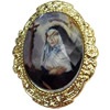 Jewelry Findings, CCB Plastic Pendant Setting with Resin Cabochon, 42x54mm, Sold by PC