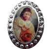 Jewelry Findings, CCB Plastic Pendant Setting with Resin Cabochon, 31x41mm, Sold by PC
