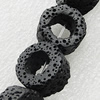 Natural Lava Beads, Flat Round 15x8mm Hole:1mm, Sold per 16-inch Strand