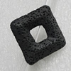Natural Lava Beads, Diamond 34x33x8mm Hole:2mm, Sold per 16-inch Strand