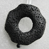 Natural Lava Beads, Horse Eye 33x33x9mm Hole:2mm, Sold per 16-inch Strand