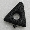 Natural Lava Beads, Triangle 31x31x8mm Hole:2mm, Sold per 16-inch Strand