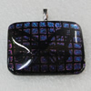 Dichroic Lampwork Glass Pendant with Metal Alloy Head, Rectangle 35x28mm, Sold by PC
