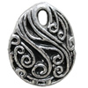 Antique Silver Plastic Pendant, 35x45mm, Hole:Approx 5mm, Sold by Bag
