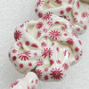 Printing Ceramics Beads, Flower 30mm Hole:2mm, Sold by Bag