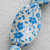 Printing Ceramics Beads, Twist Flat Oval 42x25mm Hole:3mm, Sold by Bag