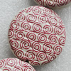 Printing Ceramics Beads, Flat Round 33mm Hole:3mm, Sold by Bag