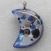 Silver Foil lampwork Pendant With Metal Alloy Head, Moon 35x45mm, Sold by PC