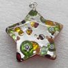 Silver Foil lampwork Pendant With Metal Alloy Head, Star 35x35x8mm, Sold by PC