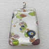 Silver Foil lampwork Pendant With Metal Alloy Head, Trapezia 20x30x7mm, Sold by PC