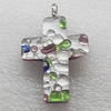 Silver Foil lampwork Pendant With Metal Alloy Head, Cross 30x40mm, Sold by PC