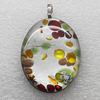 Silver Foil lampwork Pendant With Metal Alloy Head, Flat Oval 20x30x7mm, Sold by PC