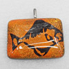 Dichroic Lampwork Glass Pendant with Metal Alloy Head, Rectangle 30x40mm, Sold by PC