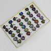 Dichroic Lampwork Glass Rings, Heart 20mm, Sold by Box