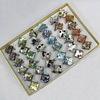 Silver Foil lampwork Glass Rings, Diamond 26.5mm, Sold by Box