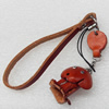 Cotton Cord Mobile Chain with Cowhide Pendants, Dog, Length:6-Inch, Sold by Strand