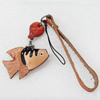 Cotton Cord Mobile Chain with Cowhide Pendants, Fish, Length:6-Inch, Sold by Strand