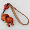 Cotton Cord Mobile Chain with Cowhide Pendants, Elephant, Length:6-Inch, Sold by Strand