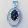 Dichroic Glass Pendant, Alloy Setting with Enamel, 67x36x8mm, Sold by PC