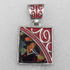 Dichroic Glass Pendant, Alloy Setting with Enamel, 32x29mm, Sold by PC