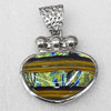 Dichroic Glass Pendant, Alloy Setting with Enamel, 42x40x10mm, Sold by PC
