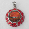 Dichroic Glass Pendant, Alloy Setting with Enamel, 40x40x12mm, Sold by PC