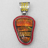Dichroic Glass Pendant, Alloy Setting with Enamel, 42x30x8mm, Sold by PC