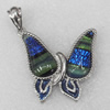 Dichroic Glass Pendant, Alloy Setting with Enamel, 37x39x7.5mm, Sold by PC