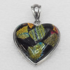 Dichroic Glass Pendant, Alloy Setting with Enamel, 33x33x9mm, Sold by PC