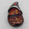 Dichroic Glass Pendant, Alloy Setting with Enamel, 38x20x9mm, Sold by PC