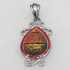 Dichroic Glass Pendant, Alloy Setting with Enamel, 38x22x7mm, Sold by PC