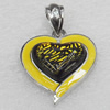 Dichroic Glass Pendant, Alloy Setting with Enamel, 30x30x10mm, Sold by PC