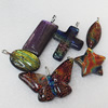 Dichroic Glass Pendant, Mix Style & Mix Color, 20mm-48x29mm, Sold by Group