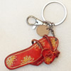 Iron Key Chains with Cowhide Pendants, Slipper, Width:29mm, Length:4.5-inch, Sold by PC