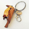 Iron Key Chains with Cowhide Pendants, Bag, Width:29mm, Length:4.5-inch, Sold by PC