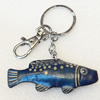 Iron Key Chains with Cowhide Pendants, Fish, Width:67mm, Length:3.14-inch, Sold by PC