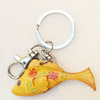 Iron Key Chains with Cowhide Pendants, Fish, Width:63mm, Length:3.14-inch, Sold by PC