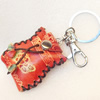 Iron Key Chains with Cowhide Pendants, Bag, Width:48mm, Length:4.3-inch, Sold by PC