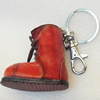 Iron Key Chains with Cowhide Pendants, Boots, Width:57mm, Length:3.9-inch, Sold by PC