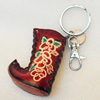 Iron Key Chains with Cowhide Pendants, Boots, Width:50mm, Length:4.7-inch, Sold by PC