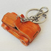 Iron Key Chains with Cowhide Pendants, Car, Width:55mm, Length:3.14-inch, Sold by PC