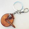 Iron Key Chains with Cowhide Pendants, Width:43mm, Length:3.9-inch, Sold by PC
