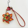 Cotton Cord Mobile Chain with Cowhide Pendants, Flower, Length:6-Inch, Sold by Strand